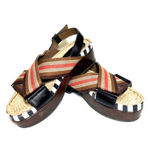 Marni Women's Multicolor Leather Raffia Sandals